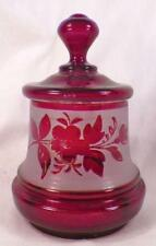 Bohemian Art Glass Jar Ruby Stained Flowers Gold Trim Antique Frosted Czech