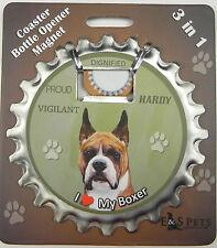 Boxer (cropped) dog coaster magnet bottle opener Bottle Ninjas magnetic
