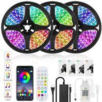 Bluetooth LED Strip Lights 50ft 15M Music Sync Remote Rooms Bar Xmas RGB Lights