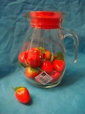 BORMIOLI ROCCO GLASS JUG W/HANDLE RED LID 1.5-LITRE BRAND-NEW COMMERCIAL-QUALITY
