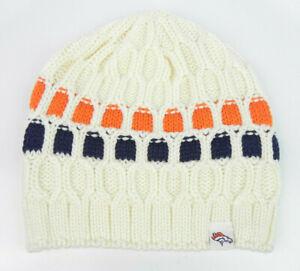 DENVER BRONCOS NFL WHITE VTG KNIT WOMEN'S UNCUFFED REEBOK BEANIE CAP HAT NEW!