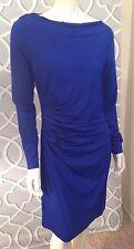 Diane Von Furstenberg DVF Dress 14 Lali L/S Solid Blue Knee Length Ruched Nwot