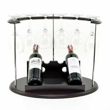 Wooden Wine Bottle and Glass Holder Display Stand Storage Home Bar Decor Rack