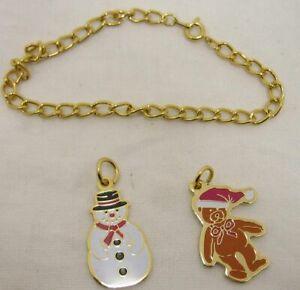 "Gold Tone 7"" Bracelet with Ty Beanie Baby Christmas Bear & Snowman Charms"
