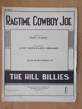 VINTAGE SHEET MUSIC - RAGTIME COWBOY JOE - RECORDED BY THE HILL BILLIES
