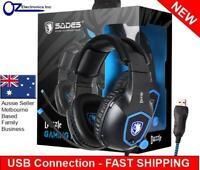 SADES Dazzle USB PC Gaming Headset Headphones 7.1 Surround Sound Noise Reduction