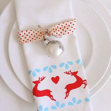 Luxurious Designer Christmas Napkins 100% Cotton UK Vintage Blue Scandinavian