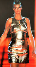 COLLECTOR'S GIANNI VERSACE COUTURE 1994 GOLDEN LEATHER CUTOUT MEDUSA DRESS