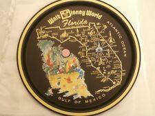 Vintage Walt Disney World Orlando Florida State Map Metal Black Tray