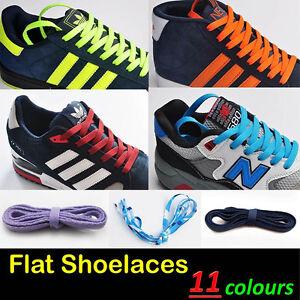 2 Pairs of Flat Shoe Laces Trainer Boot Laces Various Colour Neon Colour 110cm