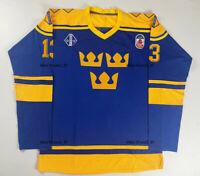 VTG 1991 Canada Mats Sundin #13 Team Sweden Hockey Jerseys Stitched Custom Names