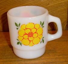 Vintage Fire King Mug - Colorful Flowers