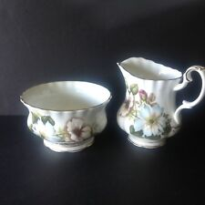 Royal Albert White/Blue Wild Roses Creamer and open Sugar Bowl England