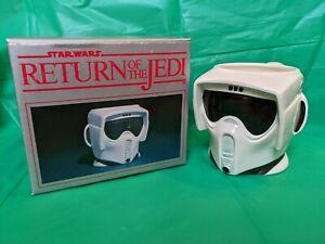 🟢⚪ Vintage Star Wars ROTJ BIKER SCOUT mug w/ box Sigma 1983 ⚪🟢