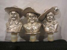 """3 vintage Musketeer  Wine Corks Metal Figure Figurines 3-1/2"""" (JE)"""