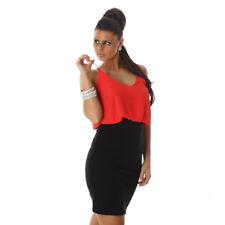 Sexy Kleid Minikleid Trägerkleid Zweifarbig Bi Color Schwarz Rot Größe 36