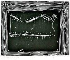 "Martin Prekop ""Lightning"" Linoleum Print 1975 School of Art Institute of Chicago"