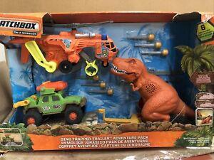Matchbox Dino Trapper Trailer Adventure Pack Playset Dinosaur T-Rex Lights Sound