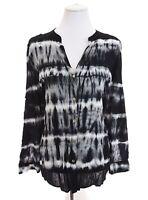 Calvin Klein Button Up Tie Dye Tunic Shirt Top Blouse Roll Tab Black Womens Sz L