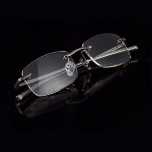 Business Style Men's Rimless Reading Glasses Alloy Metal Frame +1.0 +1.5 to +3.5