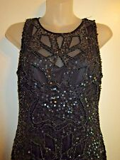 Aidan Mattox 8 Dress Black Sequin Beaded Lace Embroidered Formal Evening Party