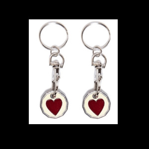 2XHeart New Shape One Pound £1 Coin Trolley Token Keyring Shopping Party Filler