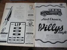 LIP montre 35 + voiture WILLYS KNIGHT + ZEIS publicité papier ILLUSTRATION 1927