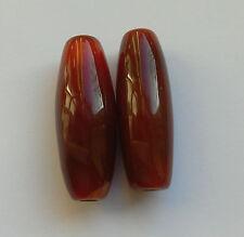 2 Fine Natural Colour Long Oval Carnelian Gemstone Beads. 30 mm Jewellery Making