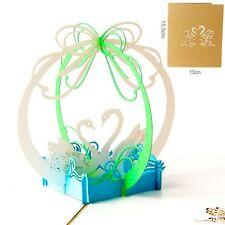3D Pop Up Greeting Card Swan Wedding Valentines Invitations Anniversary Postcard