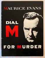 1952-1954 DIAL M FOR MURDER Theater Souvenir Program MAURICE EVANS Play Playbill