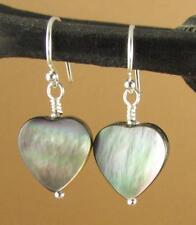 Black shell earrings. Hearts. Rainbow iridescent.  Sterling silver 925. Handmade