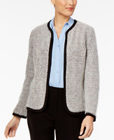 NY Collection Womens Black Sequined Boucle Open-Front Blazer Jacket L $60.00