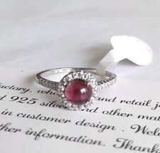 Natural Garnet Genuine 925 Sterling Silver White Gold Gemstone Jewelry Ring