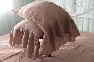 Pillow case color Rose Brown 100% Linen RUFFLE PILLOW SHAM Cover Queen King