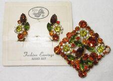 D&E Juliana Brooch + Earring Set Hyacinth Orange Chatons Peridot Jonquil ON CARD