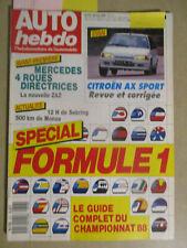 AUTO HEBDO: n°618: 30/03/1988: SPECIAL F1 - CITROEN AX SPORT - ZAZ 1102 TAVRIA