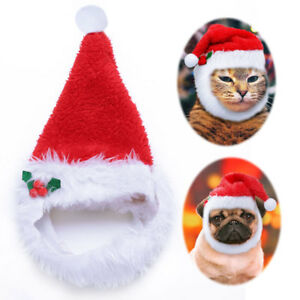 Christmas Santa Hat for Dogs Pets Holiday Fun Costume with Thick Fleece