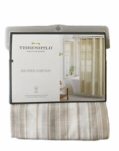 Threshold Shower Curtain Tan Linen Stripe 72 x 72 Fabric