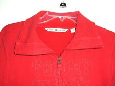 Tommy Hilfiger Womens Track Jacket Size XL Spellout embroidered Red Full Zip 05