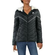 Reebok Women's Colorblock Chevron Quilted Warm Winter Hooded Active Puffer
