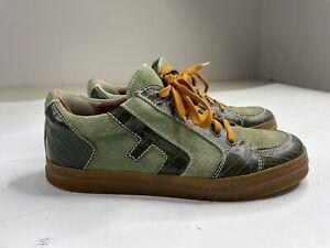 "John Fluevog Flyvog ""Redd"" Green Leather Fashion Sneakers Men's 12"