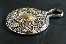 Antique GORHAM Sterling Silver Repousse Floral Hand Mirror 1890's Victorian Dres