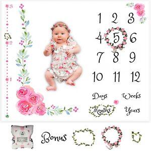 Baby Girl Milestone Blanket 🌸 Days Weeks Months Years Measures Height w/ Wreath