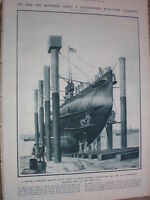Cleaning a submarine during war time 1917 old print