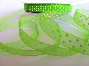"""50 yard Sheer Polka Dot 3/8"""" Organza Ribbon 9mm/Craft R94-Apple Green *FREE SHIP"""