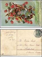 Glückwunsch Gruss AK mit Gold Klitzer Effekt ~ 1915 Kind Mädchen m. Blumen