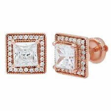 2.5ct Princess Cut Halo Stud Solitaire Earrings Solid 14k Rose Gold Screw Back
