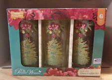 Pioneer Woman Holiday Cheer 16oz Tumbler Set, Set of 6 - Glass Christmas Cooler