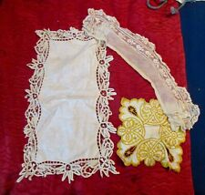 """3 Lace Embroidered Runners 10X17"""" 4 X18"""" 7 7"""" #4"""