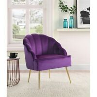 Naomi Velvet Wingback Accent Arm Chair with Metal Legs in Purple